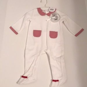 Mudpie white and red gingham footie pj